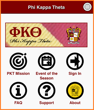 PKT app with icon navigation