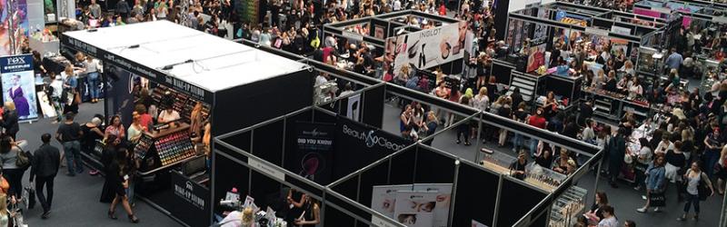 Exhibit hall of event exhibitors and event sponsors