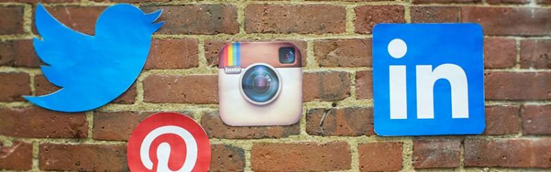 Social media network logos on wall