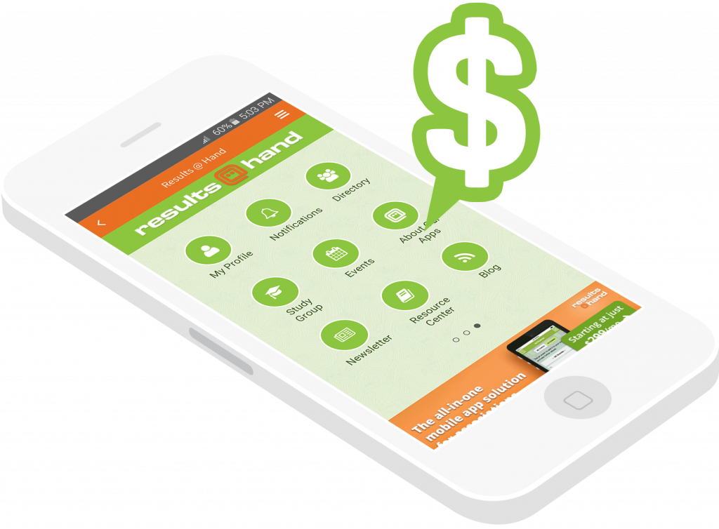 mobile app sponsorship dollars on mobile event app phone