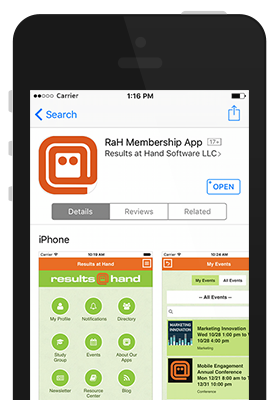Results at Hand mobile event app branding in Apple App Store