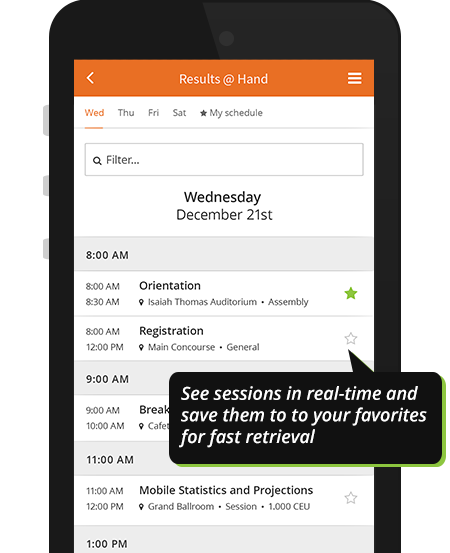 Agenda sessions with personal favorites on event app demo