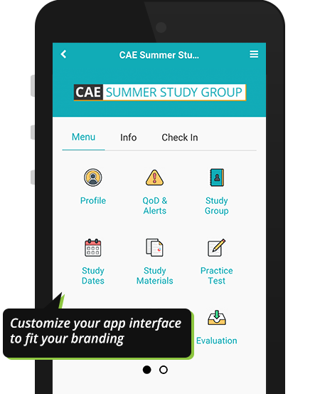 Custom CAE study group event with unique branding on Results@Hand mobile event app demo