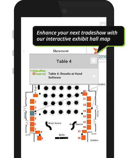 Interactive exhibit hall map for trade show on event app demo