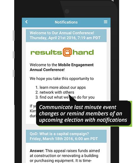 Push notifications on event app demo