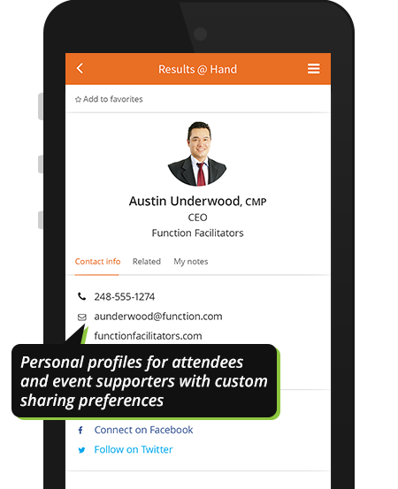 Personal user app profile on Results@Hand mobile event app demo