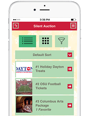 Results at Hand in-app Silent Auction listing for OSAE members