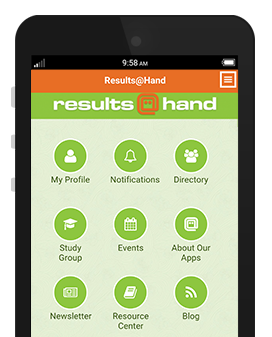 Results at Hand Membership app demo on phone