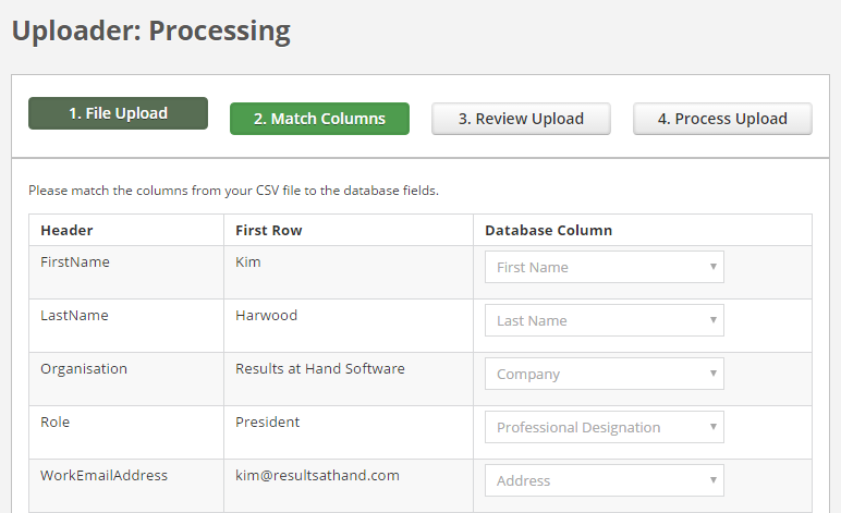 Results at Hand CMS Admin Portal data upload process