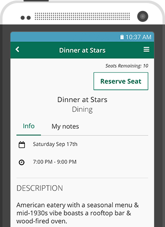 Mobile event app seat limit dinner reservation feature