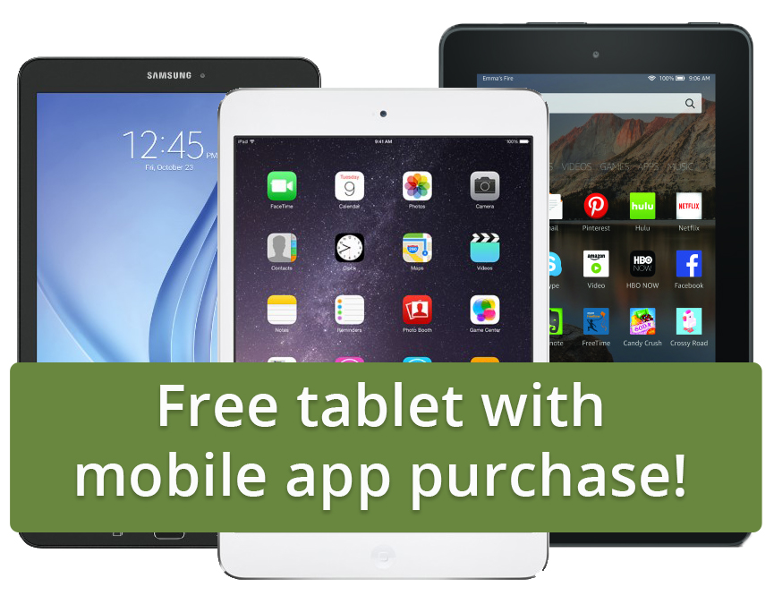 Free tablet with mobile app purchase from Results@Hand offer
